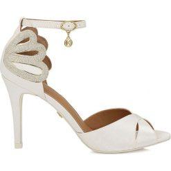 Sandały damskie: Biało srebrne sandały damskie