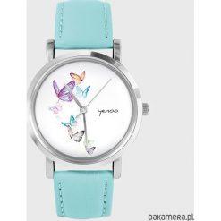 Zegarki damskie: Zegarek – Motyle – turkusowy, skórzany