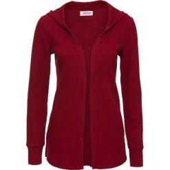 Sweter rozpinany z kapturem, długi rękaw bonprix pomarańczowo-czerwony. Czerwone kardigany damskie bonprix, z bawełny. Za 32,99 zł.