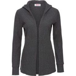 Kardigany damskie: Sweter rozpinany z kapturem, długi rękaw bonprix antracytowy melanż