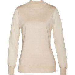 Sweter z szyfonowymi rękawami bonprix beżowy. Brązowe swetry klasyczne damskie bonprix, z szyfonu, ze stójką. Za 109,99 zł.
