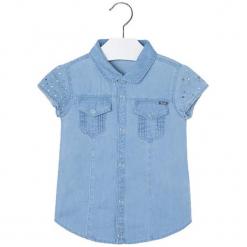 Koszula w kolorze jasnoniebieskim. Różowe bluzki dziewczęce marki Mayoral, z bawełny, z okrągłym kołnierzem. W wyprzedaży za 64,95 zł.