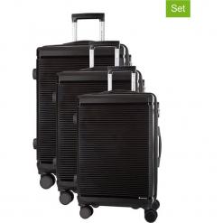 Zestaw walizek w kolorze czarnym - 3 szt. Czarne walizki marki Platinium, z materiału. W wyprzedaży za 699,95 zł.