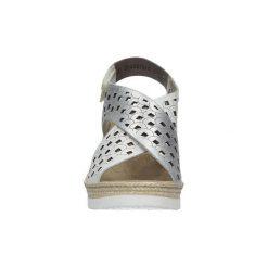 Sandały Rieker  Sandały ecru ażurowe na koturnie  61946-80. Czarne sandały damskie marki Rieker, z materiału. Za 238,99 zł.