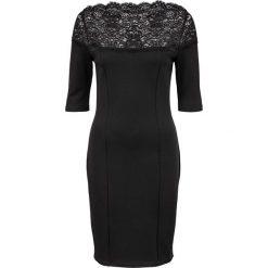 Sukienka z dżerseju z koronką bonprix czarny. Czarne sukienki koronkowe bonprix, w koronkowe wzory. Za 79,99 zł.
