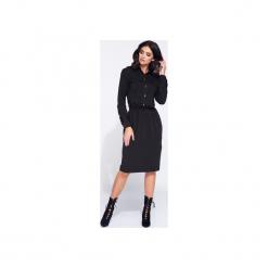 Sukienka dzienna z kieszonkami z przodu. Czarne sukienki balowe marki Bien fashion, m, z bawełny, z wykładanym kołnierzem, z długim rękawem, koszulowe. Za 159,00 zł.