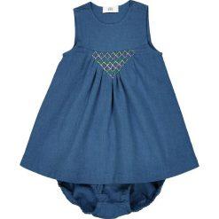 Niemowlęcy komplecik: sukienka i krótkie spodenki 0 miesięcy - 3 latka. Niebieskie spodenki dziewczęce marki La Redoute Collections, z haftami, z bawełny. Za 102,86 zł.