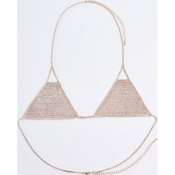Biustonosze bardotka: Łańcuszek na biustonosz lingerie valentines - Złoty