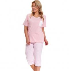 Piżama w kolorze jasnoróżowo-białym - t-shirt, spodnie. Białe piżamy damskie Doctor Nap, xl, w paski. W wyprzedaży za 79,95 zł.