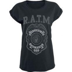 Rage Against The Machine Police Badge Koszulka damska czarny. Czarne bluzki asymetryczne Rage Against The Machine, m, z nadrukiem, z okrągłym kołnierzem, z krótkim rękawem. Za 79,90 zł.