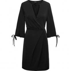 Sukienka z krepy z dżerseju bonprix czarny. Brązowe sukienki z falbanami marki Mohito, l, z kopertowym dekoltem, kopertowe. Za 149,99 zł.