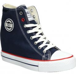 Trampki sznurowane na koturnie Big Star U27490. Czarne buty ślubne damskie marki BIG STAR, z gumy. Za 98,99 zł.