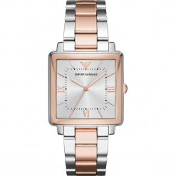Zegarek EMPORIO ARMANI - Modern Square AR11066  2-Tone/Silver/Rose Gold/Rose Gold. Szare zegarki damskie Emporio Armani. Za 1269,00 zł.