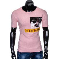 T-SHIRT MĘSKI Z NADRUKIEM S985 - PUDROWY RÓŻ. Czarne t-shirty męskie z nadrukiem marki Ombre Clothing, m, z bawełny, z kapturem. Za 29,00 zł.