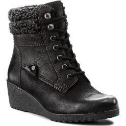 Botki LASOCKI - WI23-OMEGA-07 Czarny. Czarne buty zimowe damskie Lasocki, z nubiku, na obcasie. Za 199,99 zł.