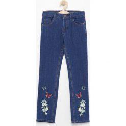 Jeansy dziewczęce: Haftowane jeansy bootcut – Granatowy