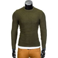 SWETER MĘSKI E95 - KHAKI. Brązowe swetry klasyczne męskie marki Inny, m. Za 45,00 zł.