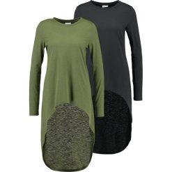 Bluzki asymetryczne: Noisy May NMMACE HIGH LOW 2 PACK  Bluzka z długim rękawem black/ivy green