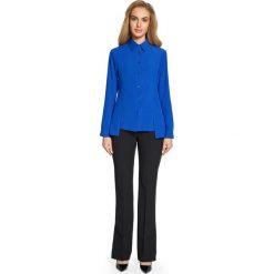 BUENA Koszula z cięciami z przodu - chabrowa. Niebieskie koszule wiązane damskie Stylove, z tkaniny, klasyczne, z klasycznym kołnierzykiem. Za 109,00 zł.