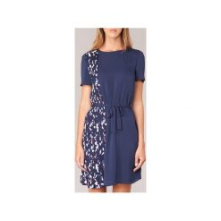 Sukienki krótkie Tommy Hilfiger  NALISE PLEATED DRESS NS. Niebieskie sukienki mini marki TOMMY HILFIGER, z krótkim rękawem. Za 663,20 zł.