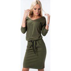 Khaki Sukienka Wiązana w Talii 9729. Brązowe sukienki Fasardi, l, oversize. Za 59,00 zł.