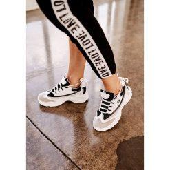 Biało-Czarne Sneakersy Stretch Right Up. Szare sneakersy damskie marki other, z materiału. Za 99,99 zł.