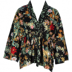 Kimono w kolorze czarnym ze wzorem. Czarne kardigany damskie marki 101 idées, m. W wyprzedaży za 136,95 zł.