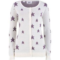 Sweter rozpinany w gwiazdy bonprix biel wełny - matowy lila. Białe kardigany damskie marki bonprix, z wełny. Za 49,99 zł.
