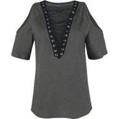 Forplay Schulterfreies Shirt mit Schnürung Koszulka damska ciemnoszary/czarny. Czarne bluzki z odkrytymi ramionami Forplay, m. Za 74,90 zł.