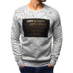 Bluzy męskie: Bluza męska bez kaptura z nadrukiem szara (bx3115)