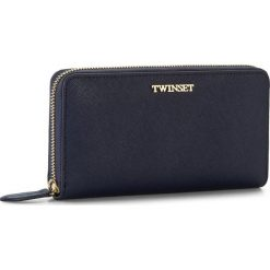 Duży Portfel Damski TWINSET - Portafoglio AA7PDY Blue/Black 00894. Niebieskie portfele damskie Twinset, ze skóry. W wyprzedaży za 359,00 zł.
