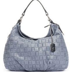 Torebki klasyczne damskie: Skórzana torebka w kolorze niebieskim – 34 x 30 x 11 cm