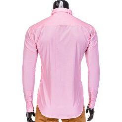 KOSZULA MĘSKA ELEGANCKA Z DŁUGIM RĘKAWEM K391 - KORALOWA. Brązowe koszule męskie na spinki marki Ombre Clothing, m, z aplikacjami, z kontrastowym kołnierzykiem, z długim rękawem. Za 39,00 zł.