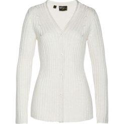 Sweter rozpinany z domieszką kaszmiru bonprix biel wełny melanż. Białe kardigany damskie marki Reserved, l. Za 189,99 zł.