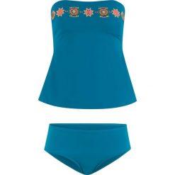 Tankini (2 części), zrównoważony produkt bonprix niebieskozielony. Niebieskie bikini bonprix, z haftami. Za 129,99 zł.