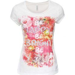 T-shirt ze sztrasami bonprix biały z nadrukiem. Białe t-shirty damskie bonprix, z nadrukiem, z okrągłym kołnierzem. Za 44,99 zł.