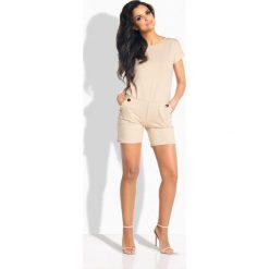 Kombinezony damskie: Elegancki krótki kombinezon beżowy