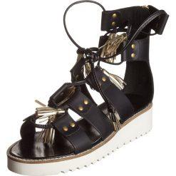 """Rzymianki damskie: Skórzane sandały """"Celia"""" w kolorze czarnym"""