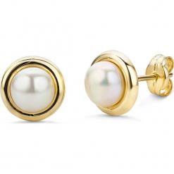 Złote kolczyki-wkrętki z perłami. Białe kolczyki damskie REVONI, z perłą, złote. W wyprzedaży za 366,95 zł.