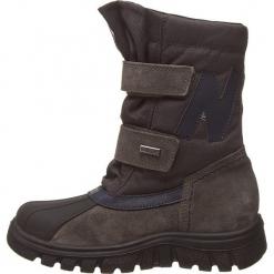 """Kozaki """"Himan"""" w kolorze antracytowym. Szare buty zimowe chłopięce Naturino, z materiału. W wyprzedaży za 215,95 zł."""