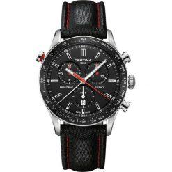PROMOCJA ZEGAREK CERTINA DS 2 Chrono Flyback Precidrive C024.618.16. Czarne zegarki męskie CERTINA, ze stali. W wyprzedaży za 2983,20 zł.