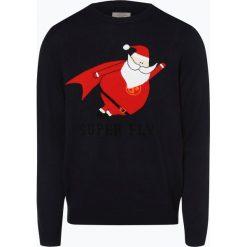 Jack & Jones - Sweter męski – Jorsnowman, niebieski. Czarne swetry klasyczne męskie marki Jack & Jones, l, z bawełny, z okrągłym kołnierzem. Za 129,95 zł.