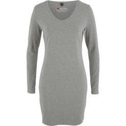 Sukienka shirtowa ze stretchem, długi rękaw bonprix szary melanż. Szare długie sukienki bonprix, melanż, z długim rękawem. Za 32,99 zł.