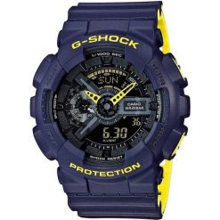 Zegarek Casio Męski GA-110LN-2AER G-Shock Neon granatowo-żółty. Niebieskie zegarki męskie CASIO. Za 358,50 zł.