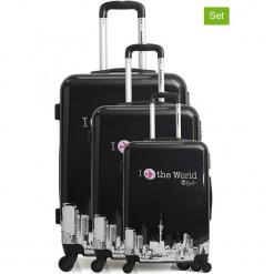 """Walizki (3 szt.) """"Soho"""" w kolorze czarnym. Czarne walizki American Travel, z materiału. W wyprzedaży za 608,95 zł."""