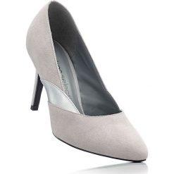 Czółenka skórzane bonprix szary. Szare buty ślubne damskie bonprix, z materiału, na szpilce. Za 99,99 zł.