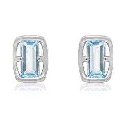 Kolczyki Srebrne - srebro 925, Topaz swiss blue. Niebieskie kolczyki damskie W.KRUK, z topazem, srebrne. Za 169,00 zł.