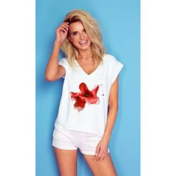 Bluzka t-shirt flower k181. Białe bluzki asymetryczne Knitis, m, z dzianiny, klasyczne, z klasycznym kołnierzykiem, z krótkim rękawem. W wyprzedaży za 44,00 zł.