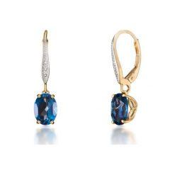 Unikalne Kolczyki - , Diament 0,01ct. Niebieskie kolczyki damskie W.KRUK, z diamentem. Za 1790,00 zł.