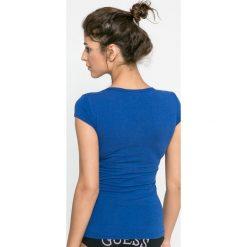 Guess Jeans - Koszulka piżamowa. Szare koszule nocne i halki marki Guess Jeans, s, z aplikacjami, z bawełny, z okrągłym kołnierzem. W wyprzedaży za 44,90 zł.